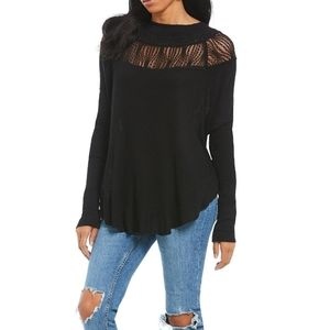 FREE PEOPLE Spring Valley Lace Trim Top Black